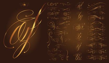 Gold calligraphic tattoo set