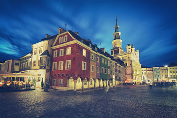 Retro stylized Old Market Square in Poznan at night, long exposure effect, Poland.