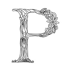Letter P coloring book for adults vector