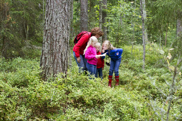 Finland, Tammerfors, Ruovesi, Girls (4-5, 6-7, 8-9) birdwatching with grandmother