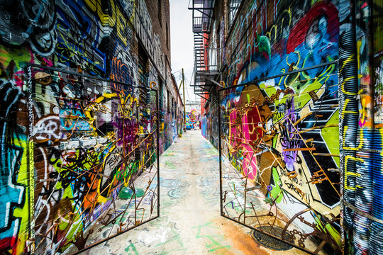 Graffiti Alley, in the Station North District of Baltimore, Mary
