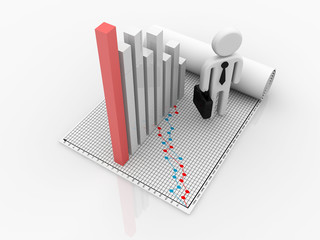 3d rendering man running toward the top of the colorful business graph