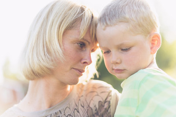 Sweden, Portrait of mother and son (2-3)