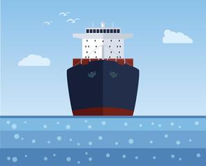 Cargo ship with a cargo into the sea. Vector illustration.