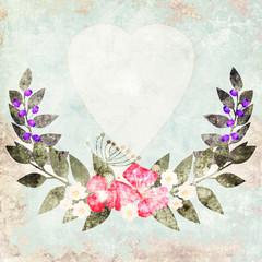 Elegant colorful grunge flower invitation postcard floral