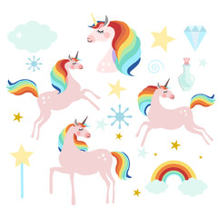 Unicorn fairy magic collection, isolated vector objects, flat design
