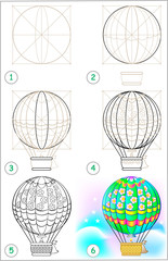 Page shows how to learn step by step to draw an air balloon. Developing children skills for drawing and coloring. Vector image.