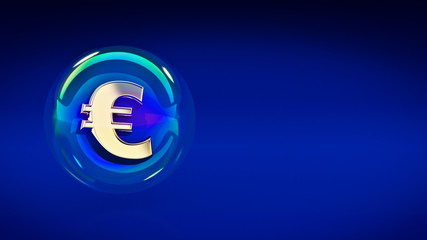 euro symbol in bubble. 3d rendering
