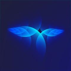 Leuchtende Kreissegmente vor dunklem Hintergrund; cyan-blau