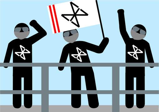Illustration Hooligans; Wut; Aggression; Zuschauer; Tribüne; Fahne; vermummt; Flagge