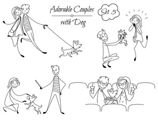 Set of coloring couples in the sketch style. Couples playing with their dog, sitting at the cinema. Boyfriend with girlfriend in love. hand drawn Vector illustration