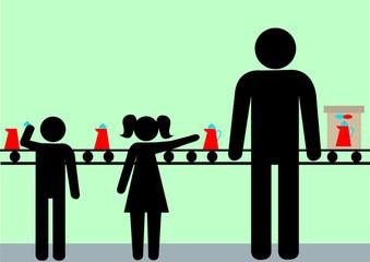 Illustration Kinderarbeit; Fließband; Produktion; Entwicklungsländer; ausnutzen, rechtlos; illegal; minderjährig;