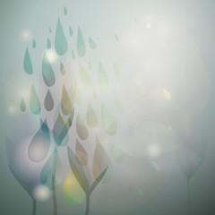 Summer subtly rain / Fairy floral card with fresh raindrops