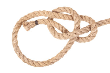 """Visual material or guide on execution of """"Bowline Knot"""". Isolated on white background. Illustration for a survival guide."""