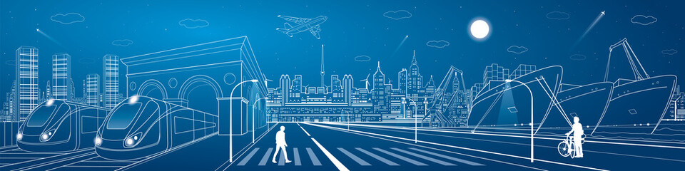 Fototapete - Mega infrastructure city panorama, train railway station, urban scene, industrial and transportation illustration, night town, airplane flying, cargo port, ships on the water, vector design art