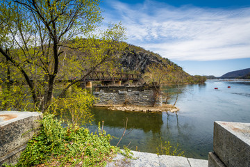 Ruins of an old bridge in the Potomac River, in Harpers Ferry, W