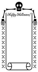 Vertical frame with skeleton. Vector clip art.