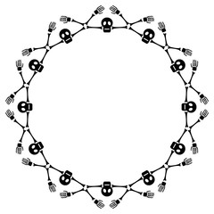 Round frame with skeleton. Vector clip art.
