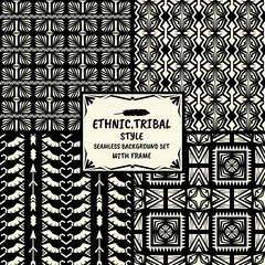 Seamless abstract pattern tribal ethnic style collection with frame