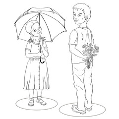 girl in a dress under umbrella and boy in a T-shirt with flowers
