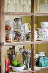 Close up of kitchen cupboard