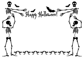 Halloween frame with skeleton. Vector clip art.