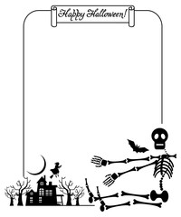 Halloween frame with skeleton. Vector clip art.