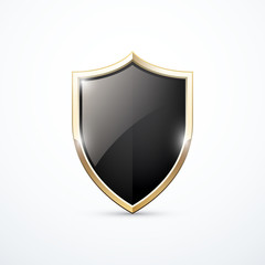 Vector gold and black shield