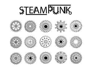 Steampunk gear-wheel round elements.