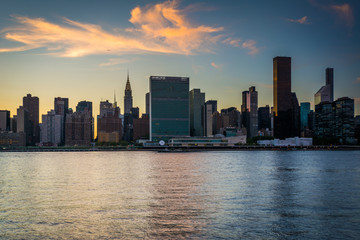 The Manhattan skyline at sunset, seen from Long Island City, Que
