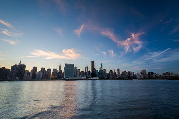 The Manhattan skyline at sunset, seen from Long Island City, Que