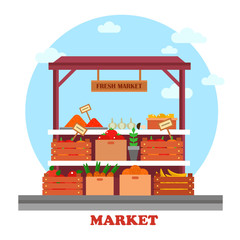 Food counter or stall at market with groceries