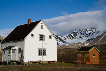 ny alesung in the svalbard island near north pole typical houses built by the coal miners