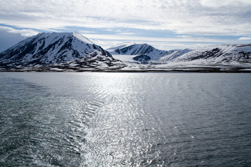 svalbard view of the landscape during the summer season view of the glaciers