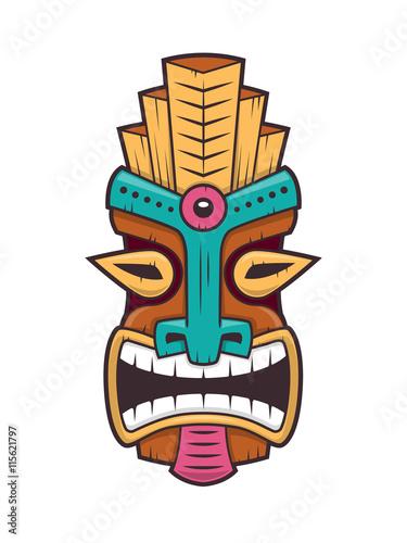polynesian tiki mask vector isolated on white stock image and rh eu fotolia com tiki vector tiki vectoriel
