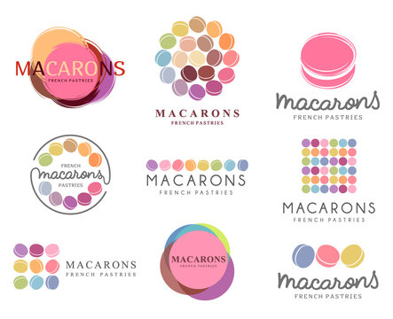 Set of vector logo macaron for shop, boutique, store