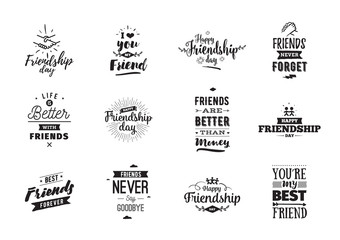 Happy Friendship day vector typographic design. Wall mural
