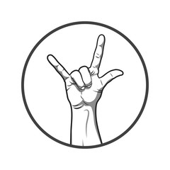 Black and white style hand in rock and roll sign