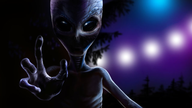 The alien holding a hand up, trying to grab you and welcome.