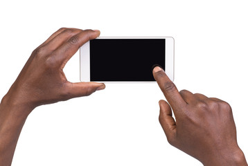Man taking a picture using a smart phone