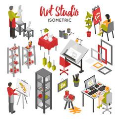 Art Studio Isometric Set