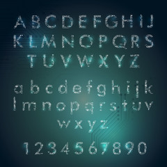 english alphabet and digits in circuit board style with glowing