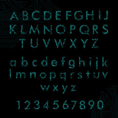 english alphabet and digits in circuit board style