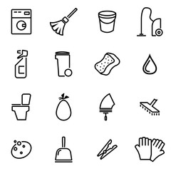 Vector illustration of thin line icons - cleaning