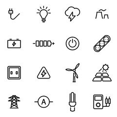 Vector illustration of thin line icons - electricity
