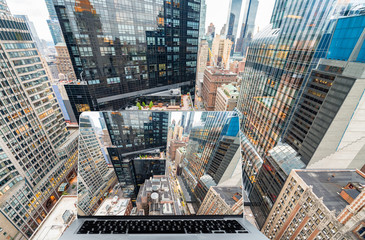Viewing Manhattan with laptop computer
