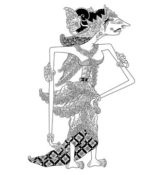 a character of traditional puppet show, wayang kulit from java indonesia.