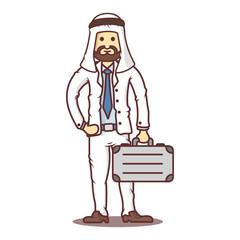 Vector cartoon business man arab with briefcase.