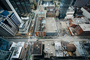 View of buildings along Adelaide Street and Simcoe Street, in do