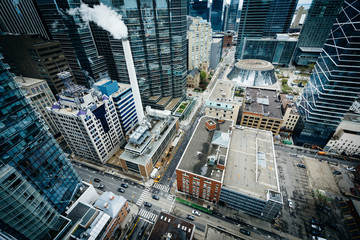 View of buildings along Simcoe Street and Adelaide Street, in do